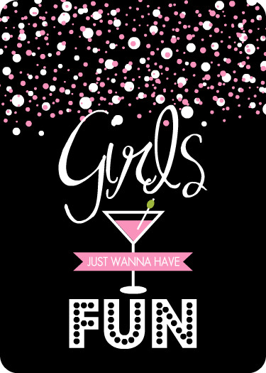 Girls Night Out Invitations Pink And Black Bubbly Cocktail Girls Night Out Invitation