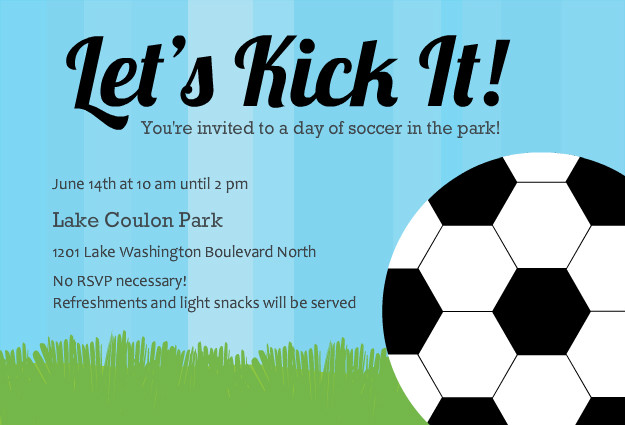 Blue Soccer Ball Sports Party Invitation