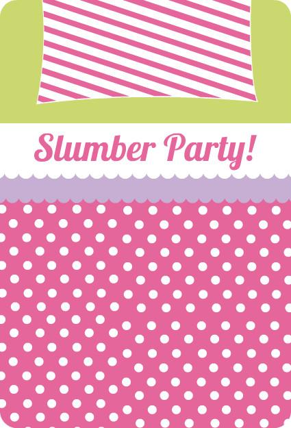 Slumber party invitations pink polka dots and stripes for Dots and stripes party theme