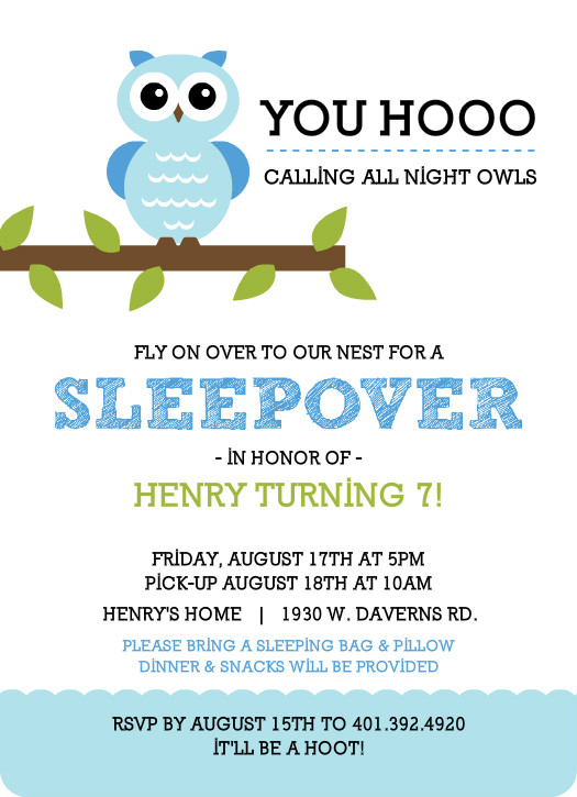 Slumber party invitations whimsical blue owl sleepover party