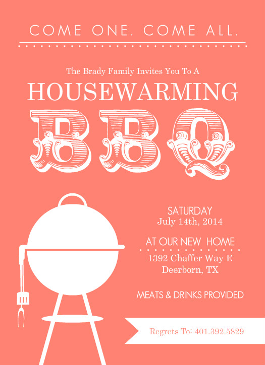 Housewarming invitations coral modern bbq set What is house warming