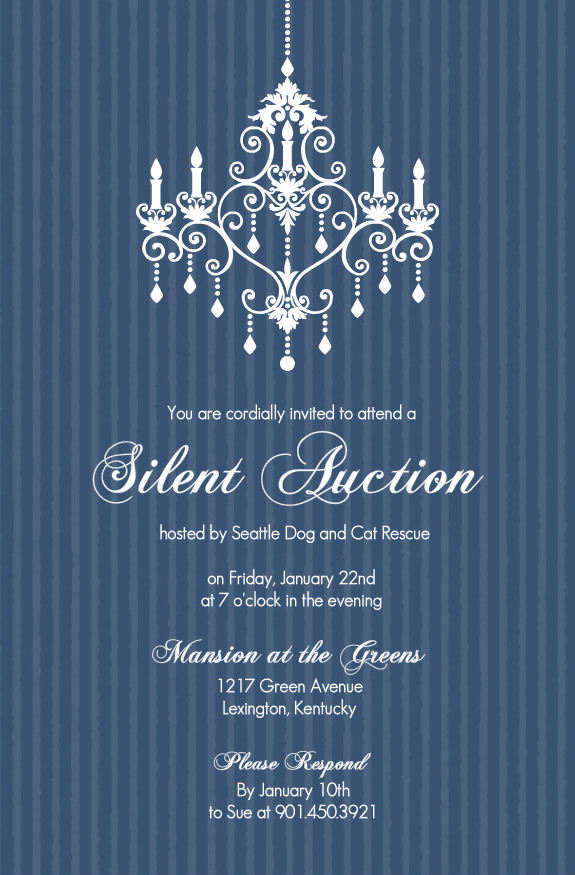 Charity Fundraiser Invitations Chandelier Silent Auction