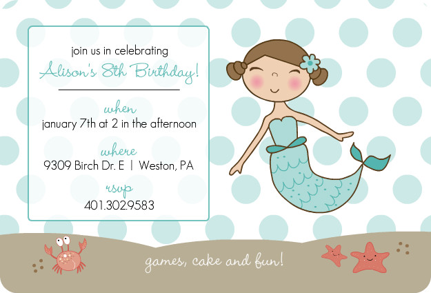 Blue Mermaid and Dots Kids Party Invitation Template