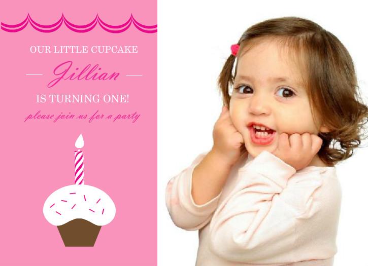 Cupcake First Birthday Party Invitation