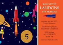 Blue and Orange Rocket Birthday Party Invitation