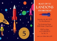 Blue and Orange Rocket Birthday Party Invitation