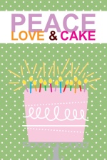 Green Polka Dot Peace Love and Cake Teen Birthday Party Invitation
