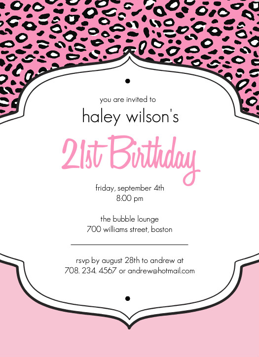 Com21st Birthday Invitations Pink Cheetah Print 21st Birthday