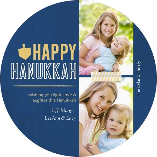 Blue and Gold Grunge and Dreidel Hanukkah Card