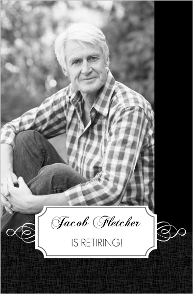 Black and White Formal Retirement Card