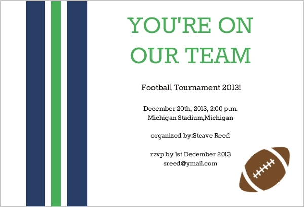 Touchdown Super Sunday Football Invitation