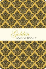 Gold and Black Damask Anniversary Party Invitation