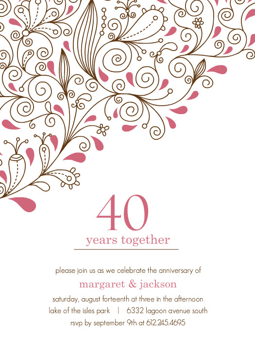 Pink Floral 40th Anniversary Party Invitation Template