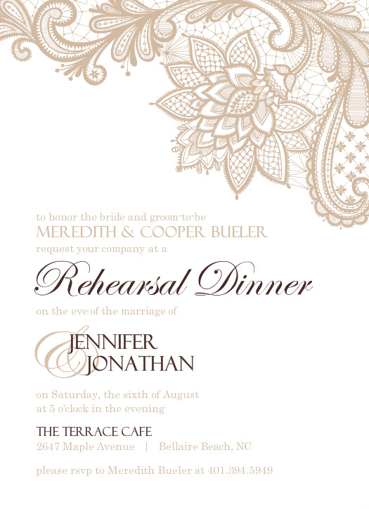 Dinner Invites Brown And White Floral Lace Wedding Rehearsal