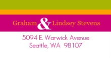 Lime Pink and Yellow Stripes (Set) Address Label
