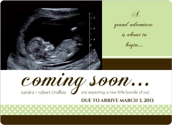 green sonogram pregnancy announcement template. Black Bedroom Furniture Sets. Home Design Ideas