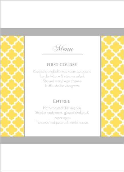Yellow and Gray Pattern  Wedding Menu Card