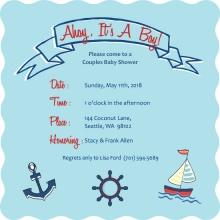 Sailing Boy  Baby Shower Invite