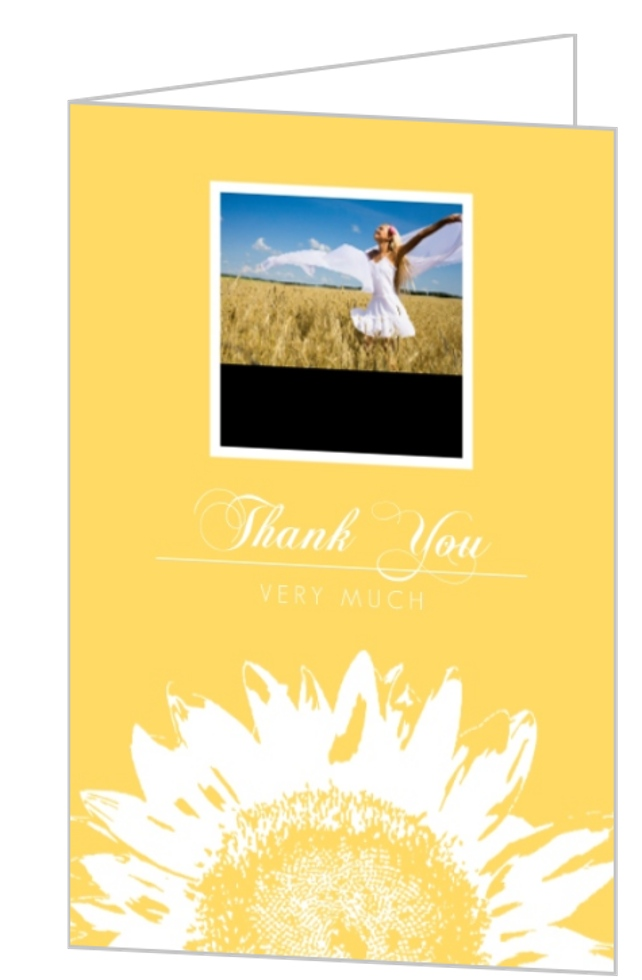 yellow sunflower graduation thank you card template. Black Bedroom Furniture Sets. Home Design Ideas