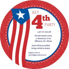 Blue and Red July 4th Circle Party Invites
