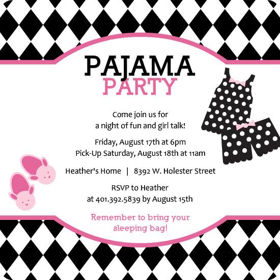 Pattern pink and black pajama slumber party invitation template