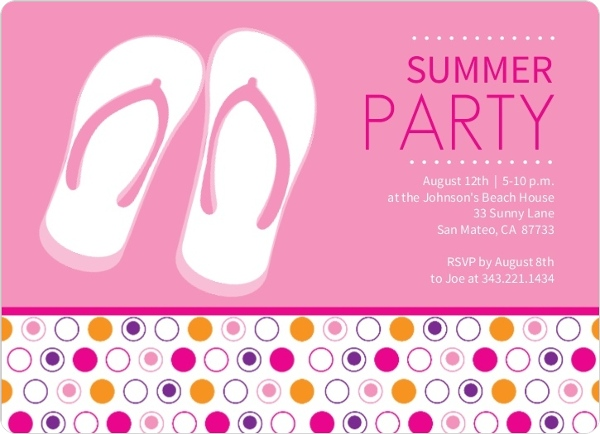 Flip Flops and Dots Pink Summer Party Invite