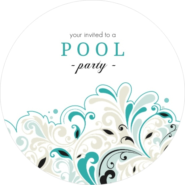 Turquoise and Black Pool Party Invitation