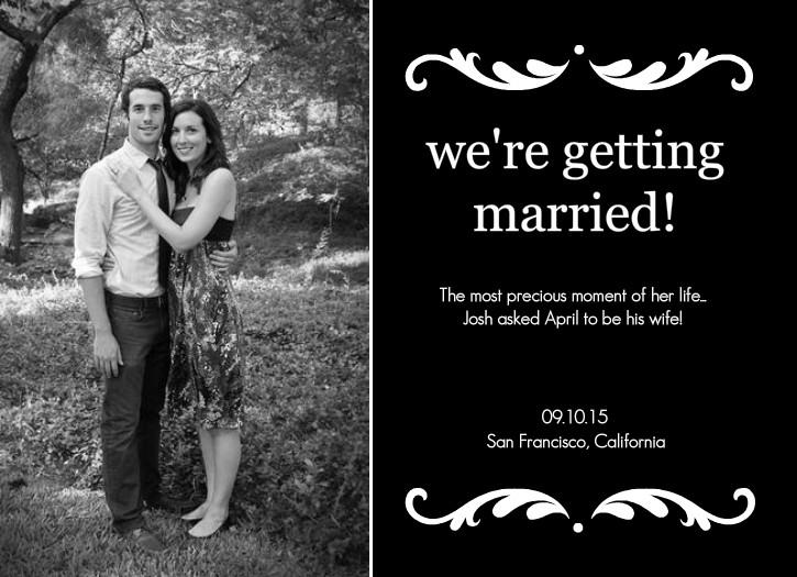 Notification of wedding