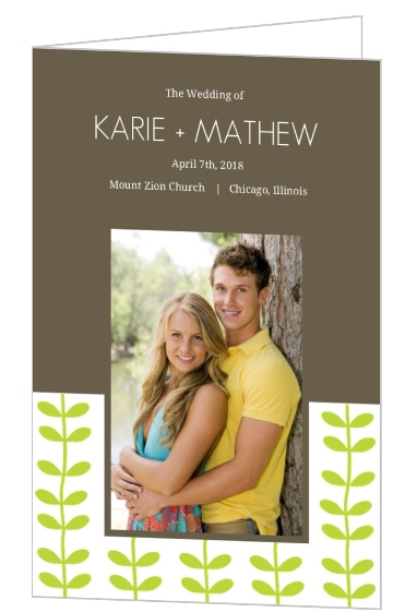 Green Spring Pattern Wedding  Wedding Program