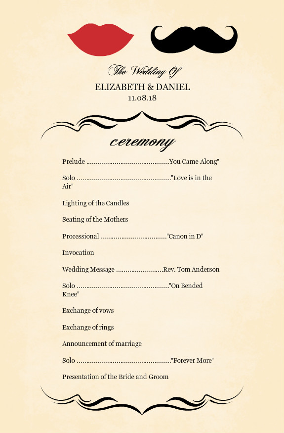 Wedding Programs - Vintage Mustache Wedding Program