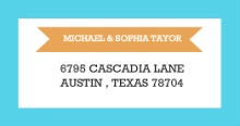 Modern Orange and Aqua Stripes (Set) Address Label