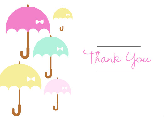 baby shower thank you cards umbrella shower baby shower thank you