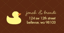 Brown Quilted with Yellow Ducks (Set) Address Label