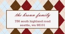 Chocolate Burgundy Plaid (Set) Address Label