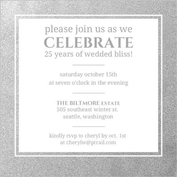 Silver Happily Ever After Anniversary Party Invitation