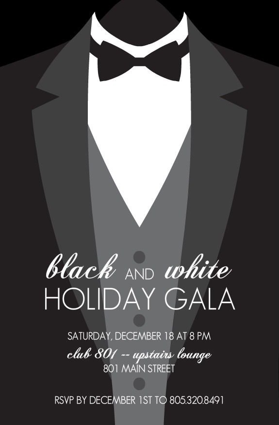 Holiday Party Invitations Formal Black Tie Holiday Party