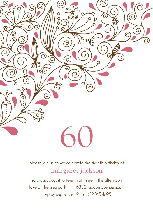 Pink Vines 60th Birthday Party Invitation Template