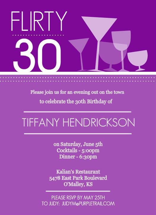30th Birthday Invitations - Purple Happy Hour Drinks Birthday invitation