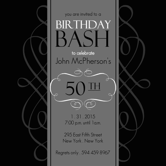 50th Birthday Invitations - Black and Grey Formal Soiree ...