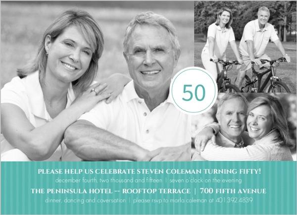 Turquoise Celebration 50th Birthday Invitation