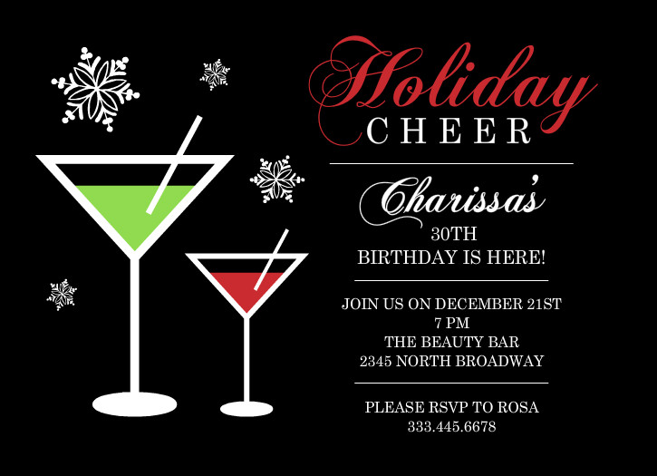 Birthday invitations holiday cheer martini 30th birthday party