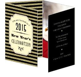 Gold Glitter Art Deco New Years Eve Invitation