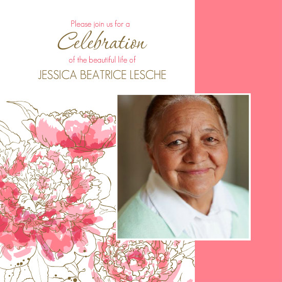 Memorial Cards - Pink Peony Funeral Service Invitation