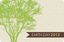 Green Tree and Cream Earth Day Card