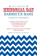 Blue Chevron Pattern Memorial Day Invitation
