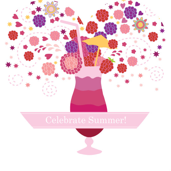 Summer Party Invitations Girly Cocktail And Flowers