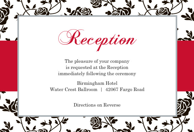 Romantic Roses Black And Red Reception Card Template