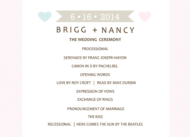 Wedding Programs - Two Hearts Whimsical Wedding Program
