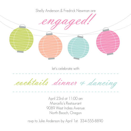 Colorful Engagement Invitations Colorful Lanterns Engagement