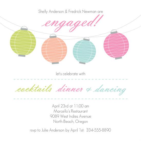 Colorful Engagement Invitations Colorful Lanterns Engagement